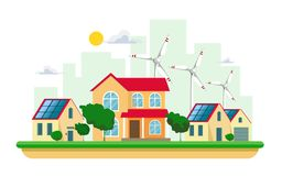 Vector illustration of clean electric energy from renewable sources of sun and wind on white. Power plant buildings with solar pan. Vector illustration of clean vector illustration