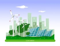 Vector illustration of clean electric energy from renewable sources sun and wind on white. Power plant station buildings with sola. R panels and wind turbines on stock illustration