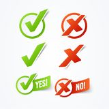 Vector Illustration Yes or No check mark stickers labels royalty free illustration