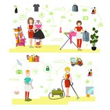 Vector set of cleaning people symbols, icons in flat style Stock Photography