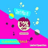 Vector illustration. Clearance Sale, Shop Now, Don`t Miss It!, 50% OFF Banner. Limited Quantities, Banner, flyer, Design Template stock illustration