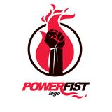 Vector illustration of clenched fist in the burning fire. Power. And authority conceptual logo Royalty Free Stock Photo