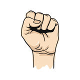 Vector illustration of clenched fist held high Royalty Free Stock Image