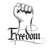 Vector illustration of a clenched fist held high in protest with handwritten word freedom. Royalty Free Stock Image