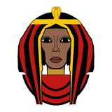 Vector illustration of Cleopatra. Beautiful girl stylized into Cleopatra, her name written in Egyptian hieroglyphics and pharaoh symbols Royalty Free Stock Photo