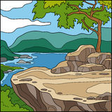 Vector illustration (cliff overlooking the sea) Stock Photo