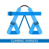 Climbing Harness Icon. Vector illustration of climbing harness isolated on white background, flat style. Belay equipment for climbing, hiking, camping Stock Photo