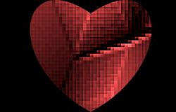 Chopped, broken pixel red heart on a black background. For Valentines Day. stock image