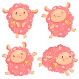 Vector illustration clipart set of cute funny pink girl sheep dancing running jumping staying with bell for kids and. Babies print and textile design wall Stock Image