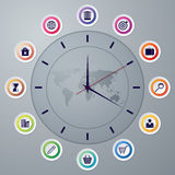 Vector illustration of a clock with hands infographics Royalty Free Stock Photo