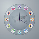 Vector illustration of a clock with hands infographics Stock Photography