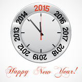 Vector  illustration of clock , red arrow specifies in a 2015. NEW YEAR,  for Your successful business design or presentation Royalty Free Stock Photo