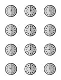 Vector illustration of clock set 24 hours on white background. Vector illustration of clock set 24 hours on white background, isolate background Royalty Free Stock Photo