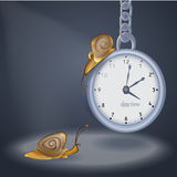 Vector illustration of clock and two snails Royalty Free Stock Images