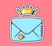 Vector illustration of closed blue envelope with crown on red ba Stock Photos