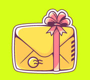 Vector illustration of closed yellow envelope with red bow on gr Royalty Free Stock Images