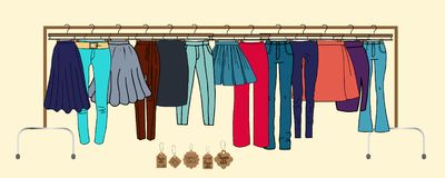 Clothes on hangers stock illustration