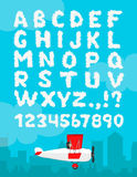 Vector illustration of cloud alphabet isolated on a blue sky and city landscape background. Cloudy font design decoration Stock Photos