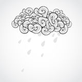 Vector illustration with cloud. Black and white Royalty Free Stock Photography