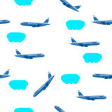 Vector illustration clouds airplane Royalty Free Stock Photos