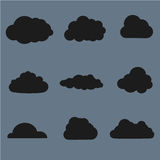 Vector illustration of clouds collection. Black Royalty Free Stock Photography