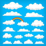 Vector illustration of clouds collection. Collection of vector clouds on the blue sky.  illustrations Stock Photos