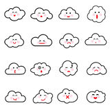Vector illustration of clouds collection. Clouds emoticon icon vector Royalty Free Stock Image