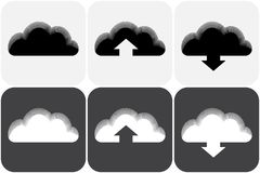 Vector illustration of clouds collection. Set of of clouds in white, grey and black colors. Vector illustration Royalty Free Stock Photo