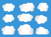 Vector illustration of clouds line. Collection. on blue background stock illustration