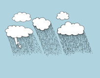 Vector illustration clouds with rain Royalty Free Stock Image
