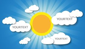 Vector illustration of clouds and sun with place for your text stock photos