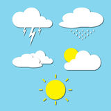 Vector illustration of clouds weather collection. On blue sky background Royalty Free Stock Images