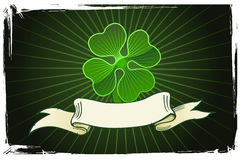 Vector illustration of a clover with banner Stock Image