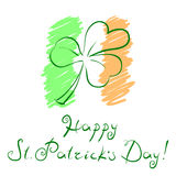 Vector illustration clover leaf over styled Irish flag and handwritten slogan Happy St Patricks Day Stock Images
