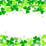 Vector illustration of clover leaves. St Patrick`s Day background. Top and bottom position. Vector illustration of clover leaves on white. St Patrick`s Day Royalty Free Stock Image