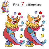 Vector illustration, clowns  find the differences Royalty Free Stock Photos