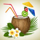 Coconut cocktail. Vector illustration - coconut tropical cocktail and flowers stock illustration