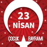 Vector illustration of the cocuk baryrami 23 nisan , translation: Turkish April 23 National Sovereignty and Children`s Day, graph. Ic design to the Turkish Stock Photos