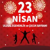 Vector illustration of the cocuk baryrami 23 nisan , translation: Turkish April 23 National Sovereignty and Children`s Day, graph. Ic design to the Turkish Royalty Free Stock Image