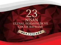 Vector illustration of the cocuk baryrami 23 nisan , translation: Turkish April 23 National Sovereignty and Children`s Day, graph. Ic design to the Turkish Royalty Free Stock Images