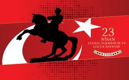 Vector illustration of the cocuk baryrami 23 nisan , translation: Turkish April 23 National Sovereignty and Children`s Day, graph. Ic design to the Turkish Royalty Free Stock Photos