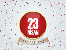 Vector illustration of the cocuk bayrami 23 nisan , translation: Turkish April 23 National Sovereignty and Children`s Day, graphic. Design to the Turkish Royalty Free Stock Image