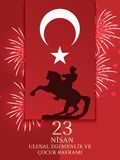 Vector illustration of the cocuk bayrami 23 nisan , translation: Turkish April 23 National Sovereignty and Children`s Day, graphic. Design to the Turkish Royalty Free Stock Photography