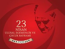 Vector illustration of the cocuk bayrami 23 nisan , translation: Turkish April 23 National Sovereignty and Children`s Day, graphic. Design to the Turkish Royalty Free Stock Images