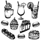 Vector illustration of coffee cocktails and sweets made in hand drawn sketch realistic style. Mojito, frappuccino, milkshake, pina colada. Template for card stock illustration