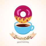 Vector illustration of coffee cup and donut with pink sweet crea Royalty Free Stock Images
