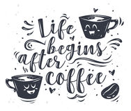 Vector illustration of coffee cup with lettering. royalty free illustration