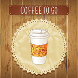 Vector illustration of coffee cup. Wood background. Royalty Free Stock Images