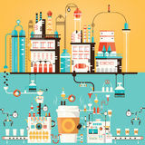 Vector illustration of coffee factory, coffee industry Royalty Free Stock Images