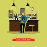 Vector illustration of coffee house design with barista and visitor Stock Photos